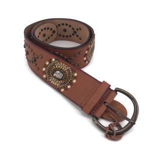 Chico's Brown Leather Embellished Belt NWOT